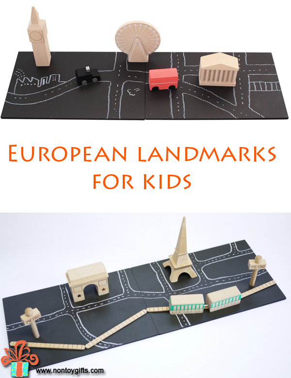 European landmarks for kids to play with and learn about different countries and their unique buildings. Wooden, high quality toys for young children - at Non Toy Gifts.