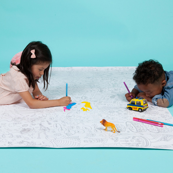Giant coloring maps. Not only a fun but also educational activity for kids. Maps of Paris, London, Barcelona and New York. A great activity to keep the kids busy on a rainy or snowy day