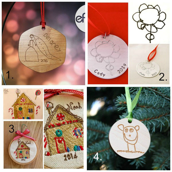 Turn kids artwork into gifts: ornaments