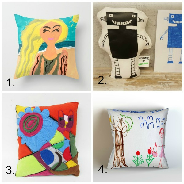 Turn kids artwork into gifts: pillows