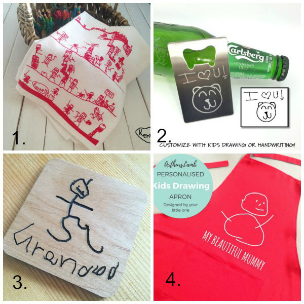 Turn kids artwork into gifts: kitchen gifts
