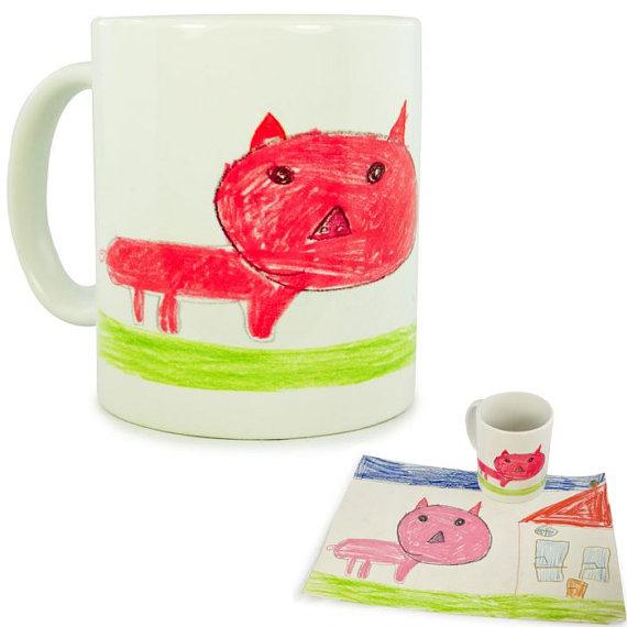 Turn kids artwork into gifts: mugs