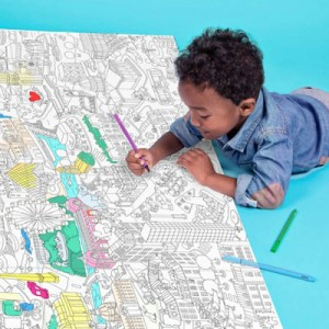 The gift of drawing: giant coloring maps of Paris, London, Barcelona and New York and crayons