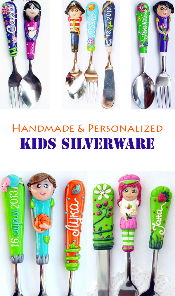 Silverware you can personalized with the kid's name, face, favorite character...I need to buy it for my picky eater #kids #spoons #gifts
