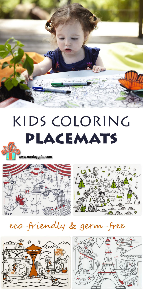The coolest kids coloring placemats - better than coloring pages and you can color them over and over again. Perfect for picky eaters. Take them along when traveling or dining out with kids. | at Non Toy Gifts