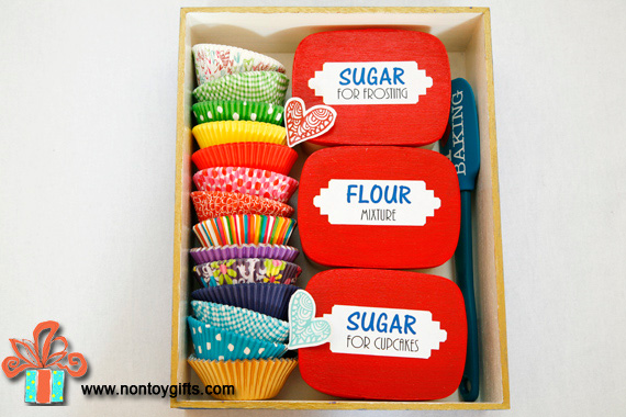 DIY baking kit for kids. Simple baking recipe included. Fun and creative DIY gift to make for girls and boys for Christmas. - at Non Toy Gifts