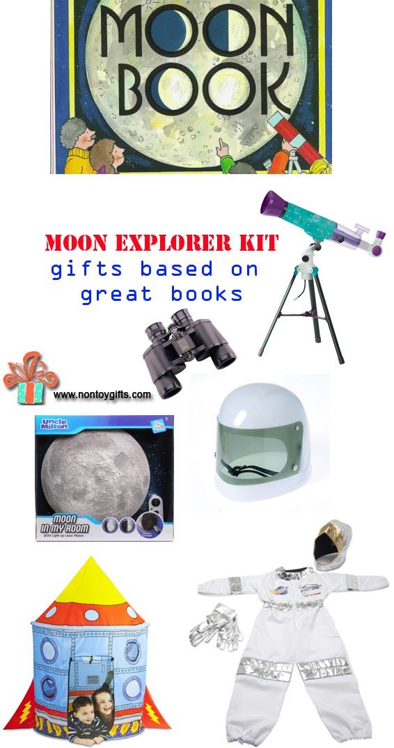 Moon Explorer Kit you can put together to indulge your kid's passion for outer space. Start with a book and add a telescope, moon light, astronaut costume, binoculars and rocket ship tent. Gift idea for boys and girls. | at Non Toy Gifts