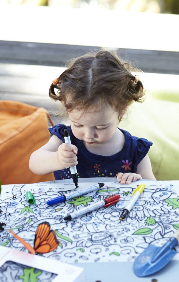 The coolest kids coloring placemats - eco-friendly products that will teach kids letters, number and geography while coloring. Color them over and over again! |at Non Toy Gifts