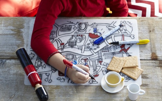 The coolest kids coloring placemats - eco-friendly and germ-free products that will teach kids letters, number and help them get familiar with various cities of the world: New York, Seattle, Paris, London.
