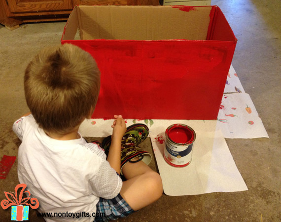 Make a cardboard car wash from a box. DIY cardboard toy for kids. Learn how to make it waterproof so kids can actually play with water. Fun summer activity. Kids can help with painting and decorations| at Non Toy Gifts