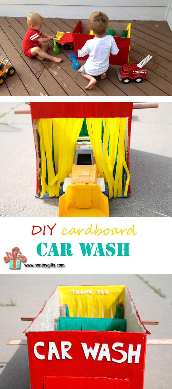 Learn how to make a DIY waterproof cardboard car wash toy from a box. Fun summer activity for kids. | at Non Toy Gifts