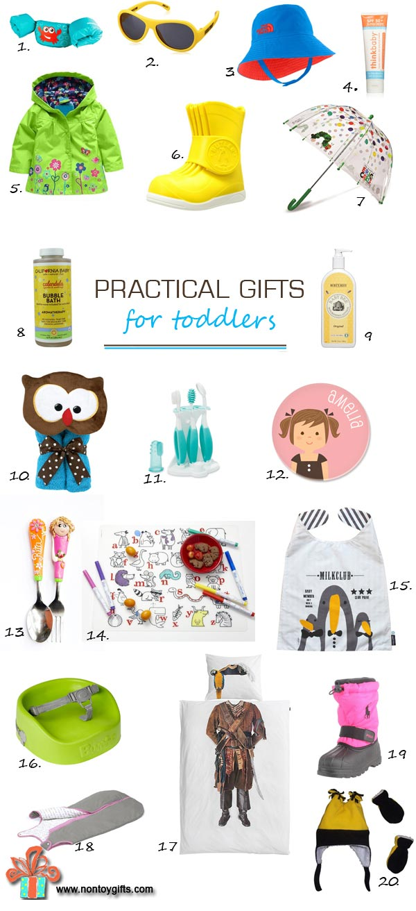 Looking for great gifts that both young kids and parents will absolutely love? This is an awesome list of 20 practical gifts for toddlers. Keep it for birthday parties or Christmas. | at Non Toy Gifts