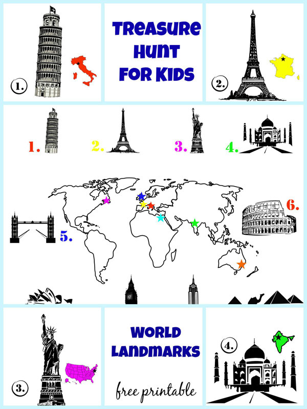 Treasure hunt for kids - landmarks of the world