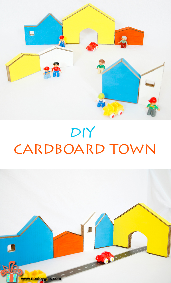 DIY Cardboard Town - at Non Toy Gifts #cardboard #toys #kids