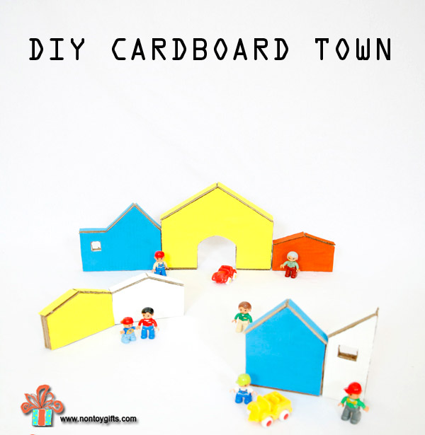 DIY recycled cardboard toy for kids: a colorful cardboard town | at Non Toy Gifts