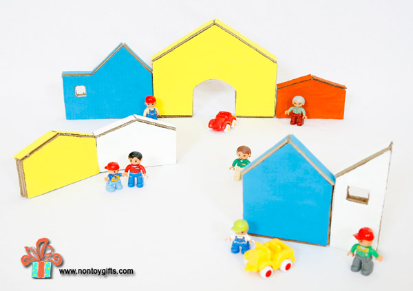 Make a cardboard town from a box. Fun activity for kids. Boys can play with their little people and cars. | at Non Toy Gifts