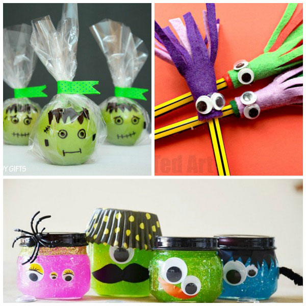 Non-candy Halloween treats for kids: monster slime, monster felt pencil toppers and Frankenstein apples