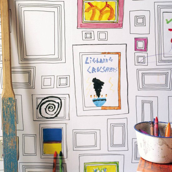 Coloring wallpaper for kids. Frames that kids can color anyway they want and create an unique wall art in their bedroom. | at Non Toy Gifts