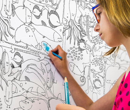 5 Coloring Wallpapers for Kids. Let them use their imagination and creativity and draw on walls | at Non Toy Gifts