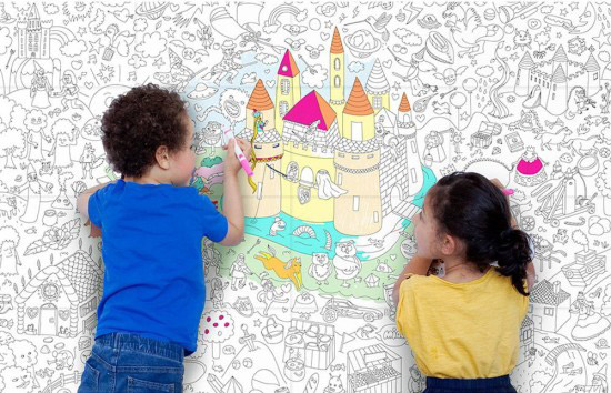 One giant coloring poster for kids. Use it on walls or as tablecloth. Fun coloring activity for kids. | at Non Toy Gifts