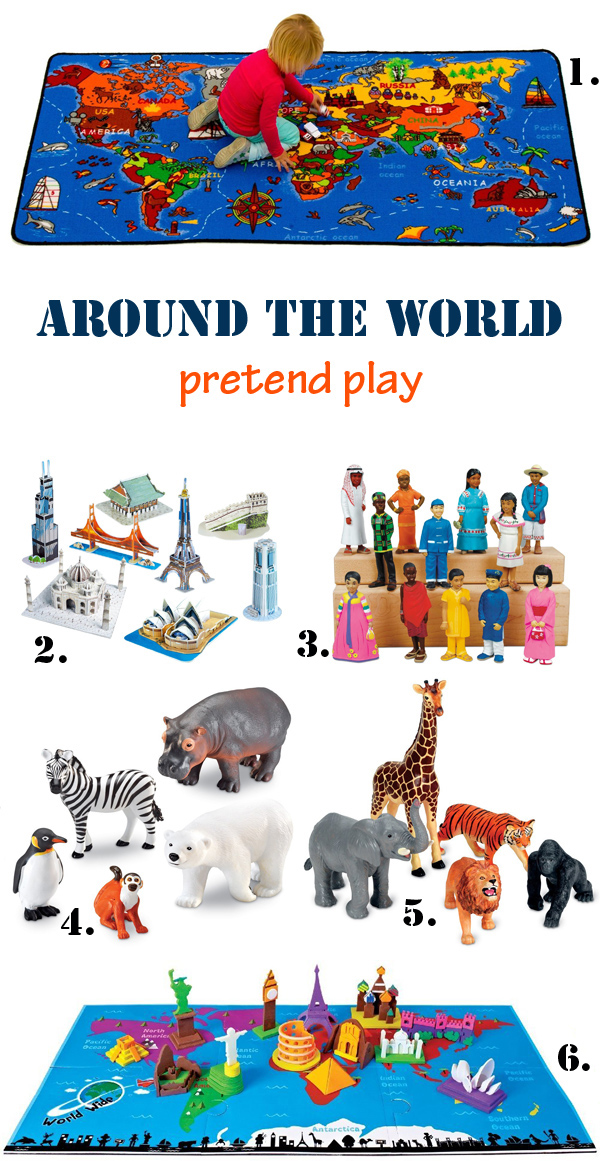 Around the world with kids - pretend play. Tools to help kids discover the world, famous monuments and local animals - at Non Toy Gifts