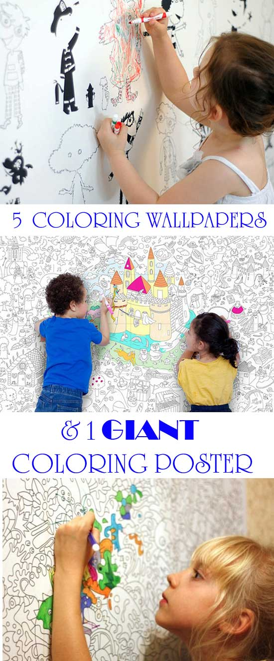 5 coloring wallpapers and 1 giant coloring poster are better than any coloring pages for kids. They can be used for nurseries, bedrooms or playrooms. Fun coloring activities for toddlers, preschoolers, kindergartners and older kids. | at Non Toy Gifts