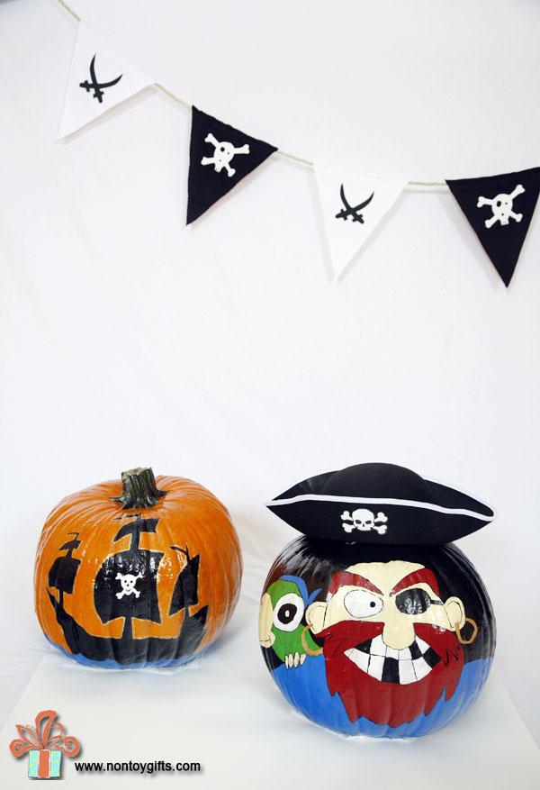 Pirate Halloween pumpkins to paint for kids. Pirate ship pumpkin.