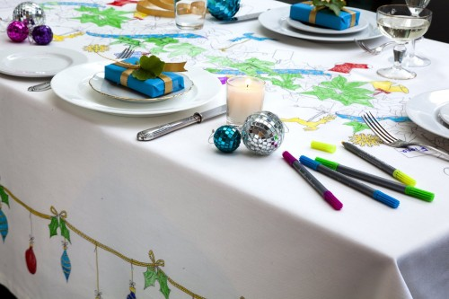 Four tablecloths for kids that will engage them in unique ways at the table, without distracting but rather keeping them occupied while eating - at Non Toy Gifts