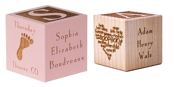 Personalized gifts for kids: baby blocks