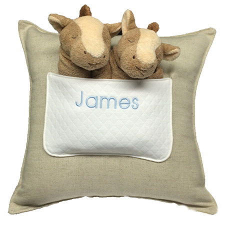 Personalized lovies and a pillow for babies