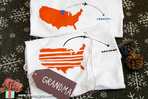 Kid-made gifts: t-shirt for grandma - at Non Toy Gifts