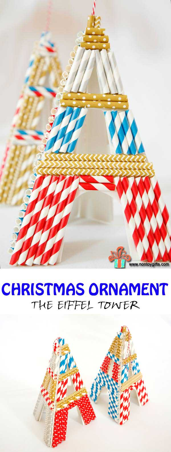 Kid Made Christmas Ornament inspired by a great book : The Eiffel Tower. - at Non Toy Gifts