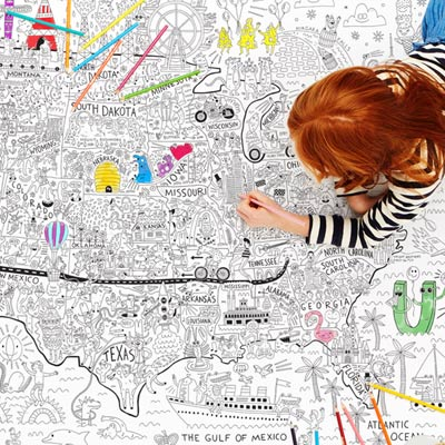 A giant coloring map of America