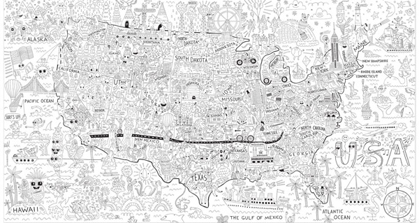 A giant coloring map of America is a fun and educational project for kids, it introduces art and geography and encourages collaboration. Great classroom or homeschool activity. It's like coloring a huge coloring page - at Non Toy Gifts