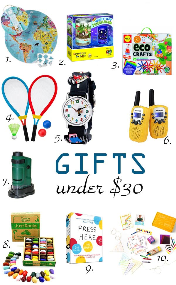 Cool gifts under $30 for kids, boys or girls - at Non Toy Gifts