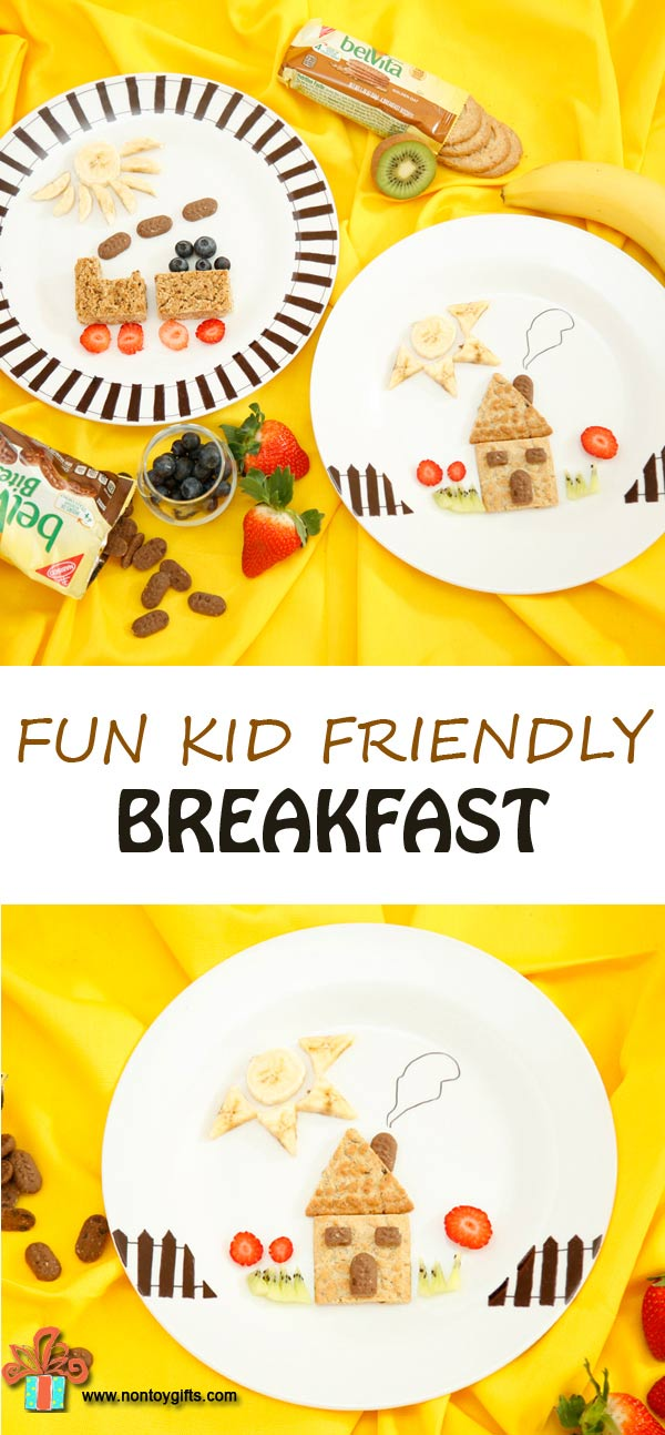 Fun breakfast (or snack) that will put a smile on your kid's face. Turn biscuits into a house or train and pair them with fruits. | at Non Toy Gifts
