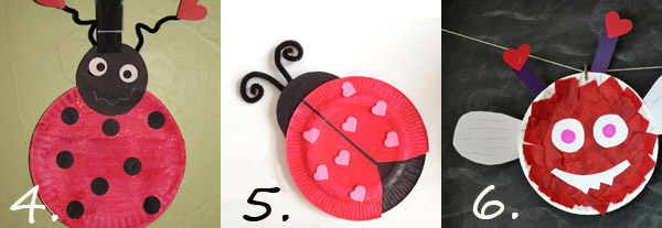 Valentine paper plate crafts: love bugs. Valentine crafts for preschoolers.
