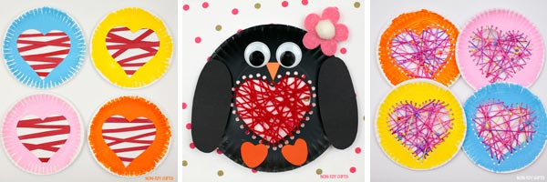 Paper plate Valentine craft ideas: hearts and penguin