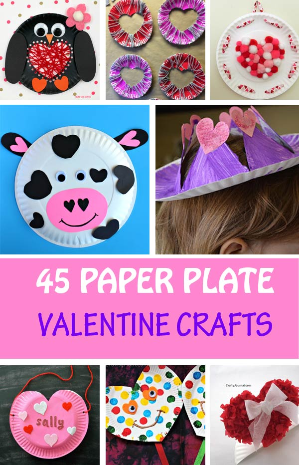 paper plate Valentine crafts for kids: hearts, card holders, love bugs, decorations,
