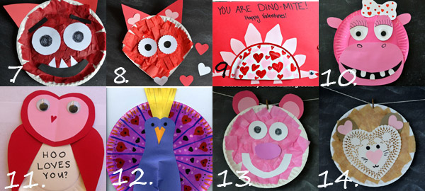 Valentine paper plate crafts for kids: bear, fox, dinosaur, peacock, owl, fox, monster, hippo and lion. Valentine love animals and creatures. Red and pink crafts