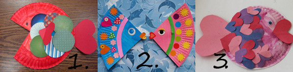 Valentine paper plate crafts - heart fishes. A fun Valentine craft for toddlers