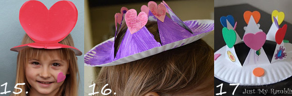 Valentine paper plate crafts for kids: Valentine hats for girls and boys.