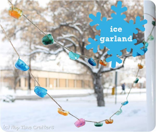 Make an ice garland - one of the 20 outdoor snow activities for kids. Be prepared for that snowy day when school is off and kids want to go outside and play. This list of snow and ice activities for kids of all ages is just what you need for any winter day. | at Non Toy Gifts