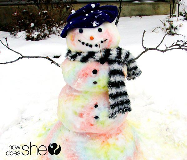 Paint a snowman - one of the 20 outdoor snow activities for kids. Be prepared for that snowy day when school is off and kids want to go outside and play. This list of snow and ice activities for kids of all ages is just what you need for any winter day. | at Non Toy Gifts