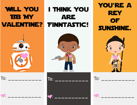 30 Star Wars Valentines Cards - free printables