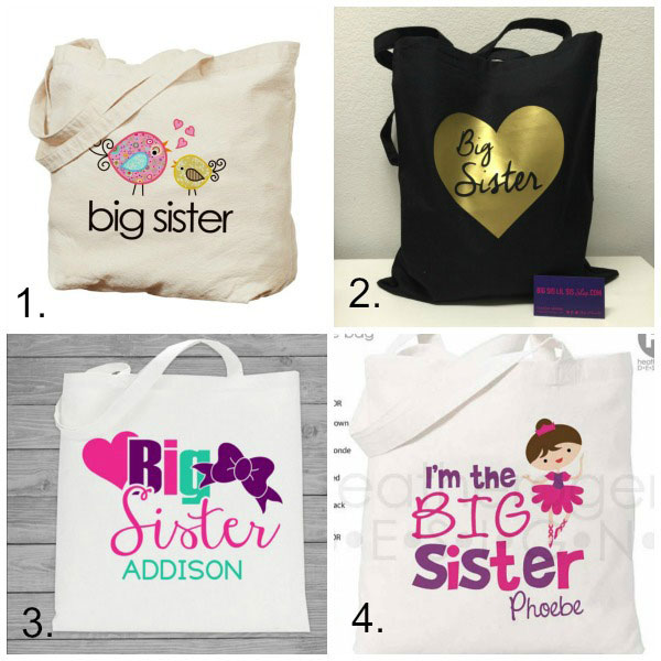 Big sister gifts from baby: tote bags