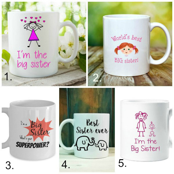 Big sister gifts from baby: mugs