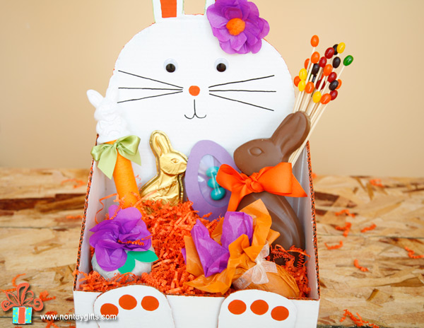 DIY bunny shaped Easter basket to make from a cardboard box. | at Non Toy Gifts