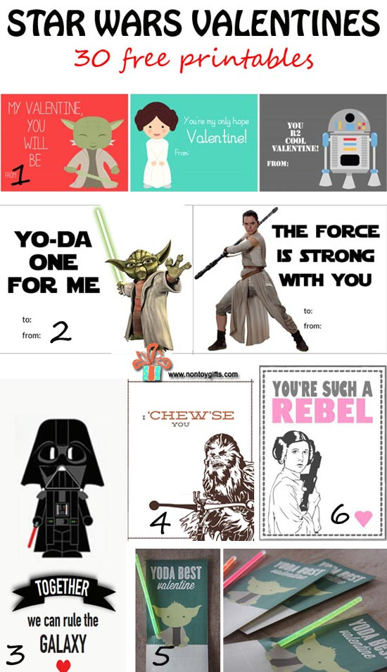 Star Wars Valentines featuring classic and new characters. 30 free printable Valentines cards that are perfect for kids to bring to classroom parties. | at Non Toy Gifts