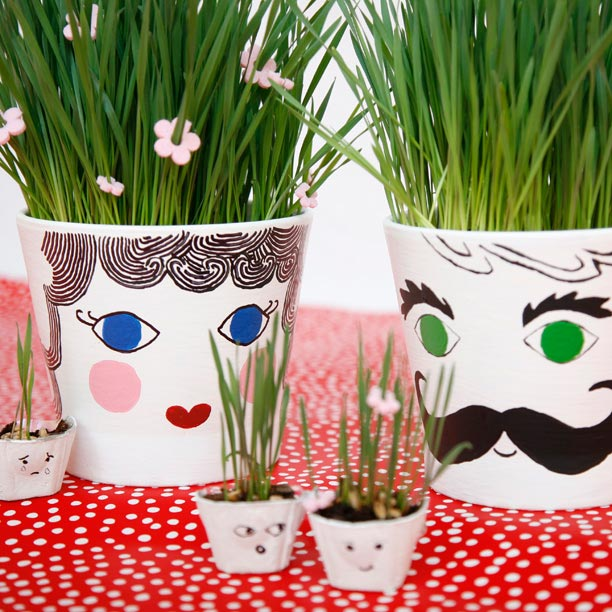 Grass head pots to make for kids this spring or summer. A fun nature craft. | at Non-Toy Gifts